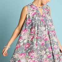 Breezy Floral Dress - Grey - Ships Tuesday