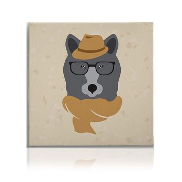 Hipster Animals Pictures Canvas Wall Art Decal Painting Prints Dog2