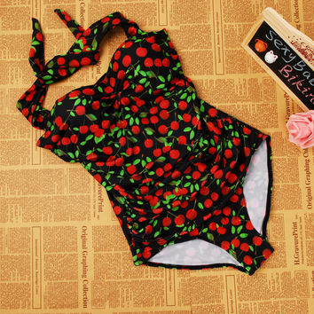fff2e745b8 M XL XXL 3XL Retro Floral Print swimsuit Halter one piece swimsu