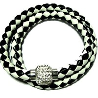 Black and White Leather double braided bracelet