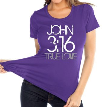 John 3:16 Women's Christian Relaxed Fit Crew Neck T Shirt