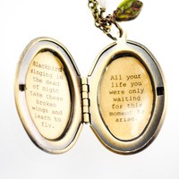 Blackbird singing in the dead of night take these broken wings and learn to fly - Beatles - Song Quote Locket - Women's Locket