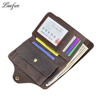 Men's Crazy Horse Leather Long Wallet Genuine Leather Vintage Trifold Wallet with inner flap pocket Snap cow leather wallet