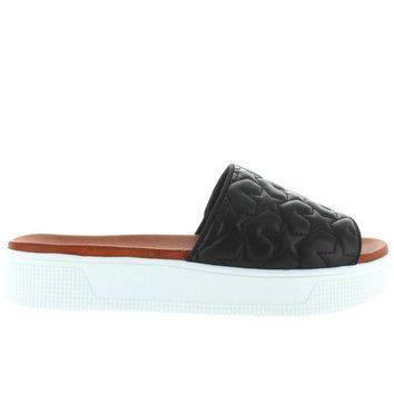 Mia Journee  Black Star Rubber Platform Footbed Slide Sandal