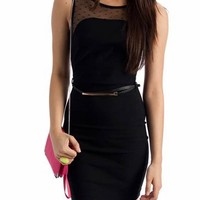 belted mesh back dress $27.60 in BLACK - Dressy | GoJane.com