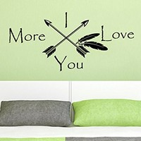 Wall Decals Quotes I Love You More Arrow Quote Vinyl Sticker Decal Art Home Decor Feather Arrows Fashion Bohemian Bedroom Interior C569