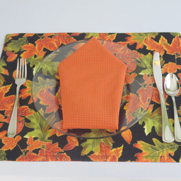 Cloth Placemats, Thanksgiving Decor, Fall Theme Place Mats, Matching Napkins, Dining Table Linens, Home Gift, Rectangle, Reversible,Set of 2