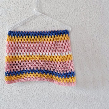 Striped Baby Blanket Afghan Throw Crochet - Soft Pink, Yellow, Blue, and White - Ready To Ship