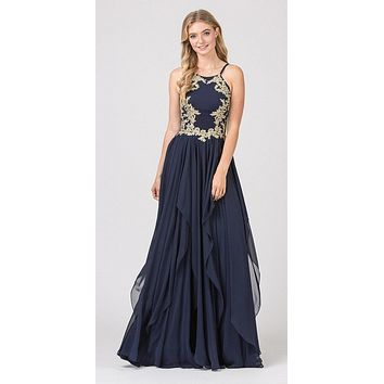 A-line Tiered Long Prom Dress Appliqued Bodice Navy Blue