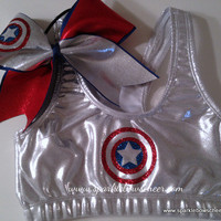 Cap'n Am Super Hero Metallic Sports Bra and Bow Set