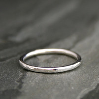 Sterling Silver Ring Band, Hammered finish, Stacking Ring, Stackable Ring