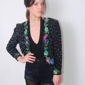 Vintage 1980s Black Cropped SILK SEQUIN beaded Floral cropped trophy Jacket Bolero S M L