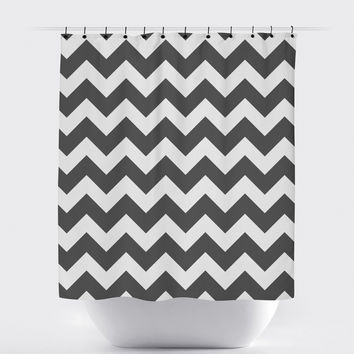 Charcoal Gray Chevron Shower Curtain