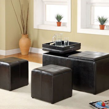 A.M.B. Furniture & Design :: Bedroom furniture :: Bedroom Benches :: Visp contemporary style espresso leather like vinyl upholstered ottoman bench with flip trays
