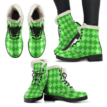 St Patricks Day Faux Fur Leather Boots