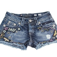 Miss Me ® Floral Peace And Love Denim Shorts