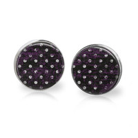 Polka Dot Halloween Earrings Black Polka Dot White Purple Polka Dot Earrings Halloween Color Pattern Halloween Jewelry Purple Spot White Dot