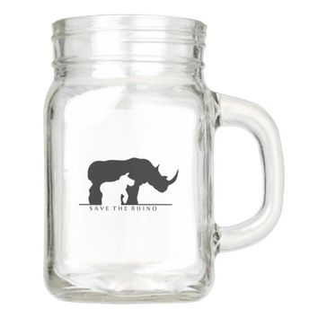 Save the Rhino Mason Jar
