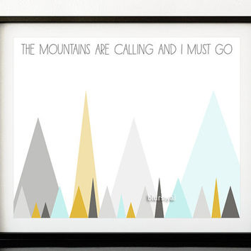 """Geometric print, quote printable: """"the mountains are calling and I must go"""", pastel triangles print, abstract mountains - ab 005"""