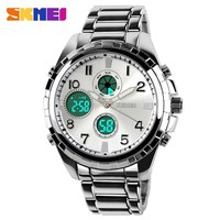 SKMEI Dual Time Digital Watch s Sports Watch Waterproof German Glass Mirror Japan Movement Stainless Steel Band
