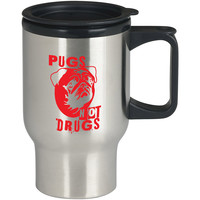 Pugs Not Drugs Red For Stainless Travel Mug *