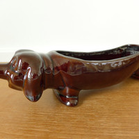 Brown ceramic dachshund planter, 13 inches long