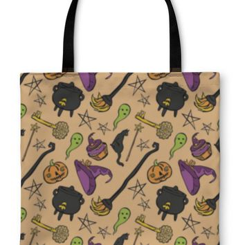 Tote Bag, Pattern Of Witch Witch Hat Witch Cauldron Broom Black Cat Magic Wand Old Key