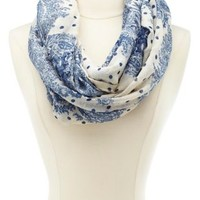 Paisley & Dot Infinity Scarf by Charlotte Russe - White Combo
