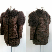 Brown Mongolian Fur Jacket Short Car Coat / Mid Century High Fashion Boho Chic