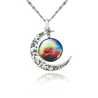 Moon Pendant Galaxy Necklace Lovely Galaxy Silver Chain