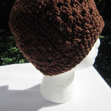 Brown Scarf and Hat, Crochet Brown Hat and Scarf Set, Granny Square Cap and Neckwarmer