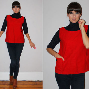 Vintage 60s MOD Top / TURTLENECK Layered TANK Long Sleeve / Navy Blue + Red / A-Line Blouse / Pockets / Americana, Minimalist