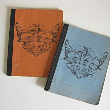 1930s French cahiers - pair of school homework books