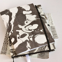 Marble notebook, marbled book, textile cover notebook, black sheets, white pen, marble copybook, marbled cover journal, fabric covered book