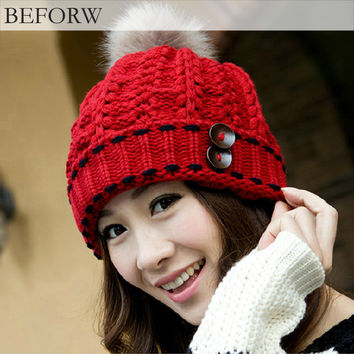 BEFORW Brand Winter Hat Women Fall Fashion Snapback Caps Hairball Hats Warm Ear Protection Wool Hat Swag Cap Beanie Skullies