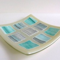 Fused Glass Art Plate in Shades of Aqua and Gray