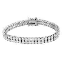 2 Row Bracelet White Gold Tone Round Cut Lab Diamond Tennis Stainless Steel 8 MM -2176