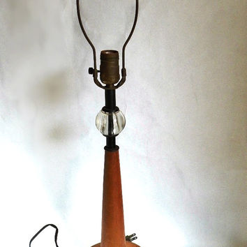 Mid Century Modern Vintage Wood Lamp 1960s Home Decor Table Lamp