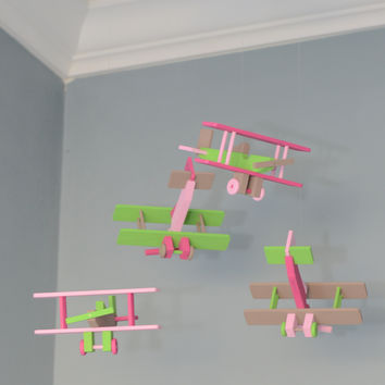 BiPlane Airplane Baby Mobile - Let's Fly Away - Pink Green Brown