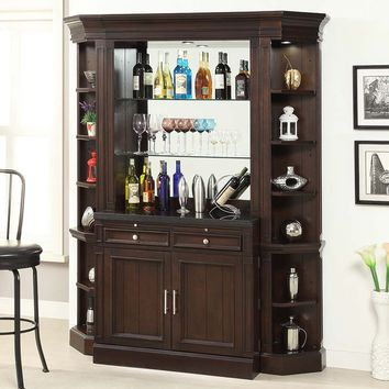 Stanford Library 4 Piece Bar Base Hutch Corner Bookcases Light Vintage Sherry