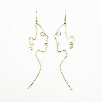 Side Profile Face Shaped Wire Earrings