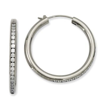 Titanium CZ Hoop Earrings