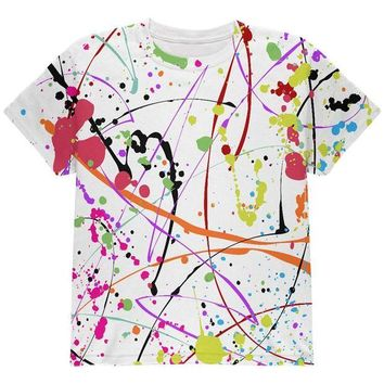 DCCKU3R Splatter Paint White All Over Youth T Shirt