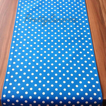 Blue Polka-Dot Table Runner, Colorful Table Cover, Cotton Table Runner, Pastel Tablecloth, Home Decor,  Outdoor Table Runner