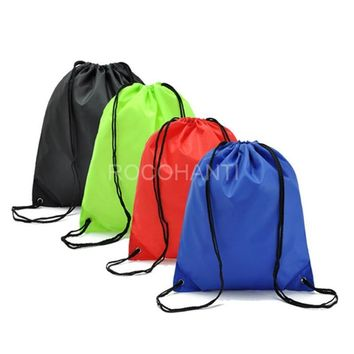 Customized LOGO Women/men drawstring bags candy colors backpack shopping bag shoes holder bag solid travel backpack string bags