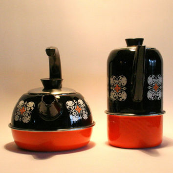 Sale! / Two vintage enamel tea pots / Made by Gorica Yugoslavia / orange and black