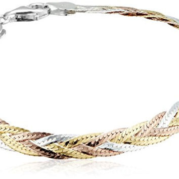 Sterling Silver Italian Tri-Color Five-Strand Braided Herringbone Chain Bracelet, 7.5""