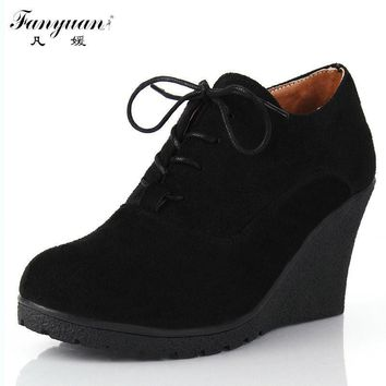 2015 New Wedges Women Boots Fashion Flock High-heeled Platform Ankle Boots Lace Up Hig