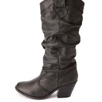 Chunky Heel Slouchy Cowboy Boots by Charlotte Russe - Black