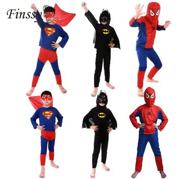 Hero Red Spiderman Costume Boys Cosplay Batman Black Spider Man Halloween Costume for Kids Carnival Clothes Hat Pants Capes Mask